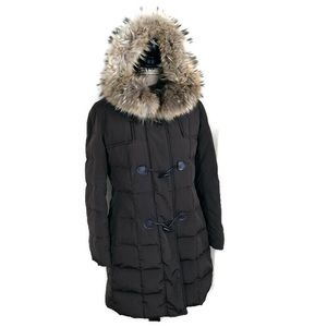 Cinzia Rocca Fur Trim Brown Puffer Coat Jacket 6